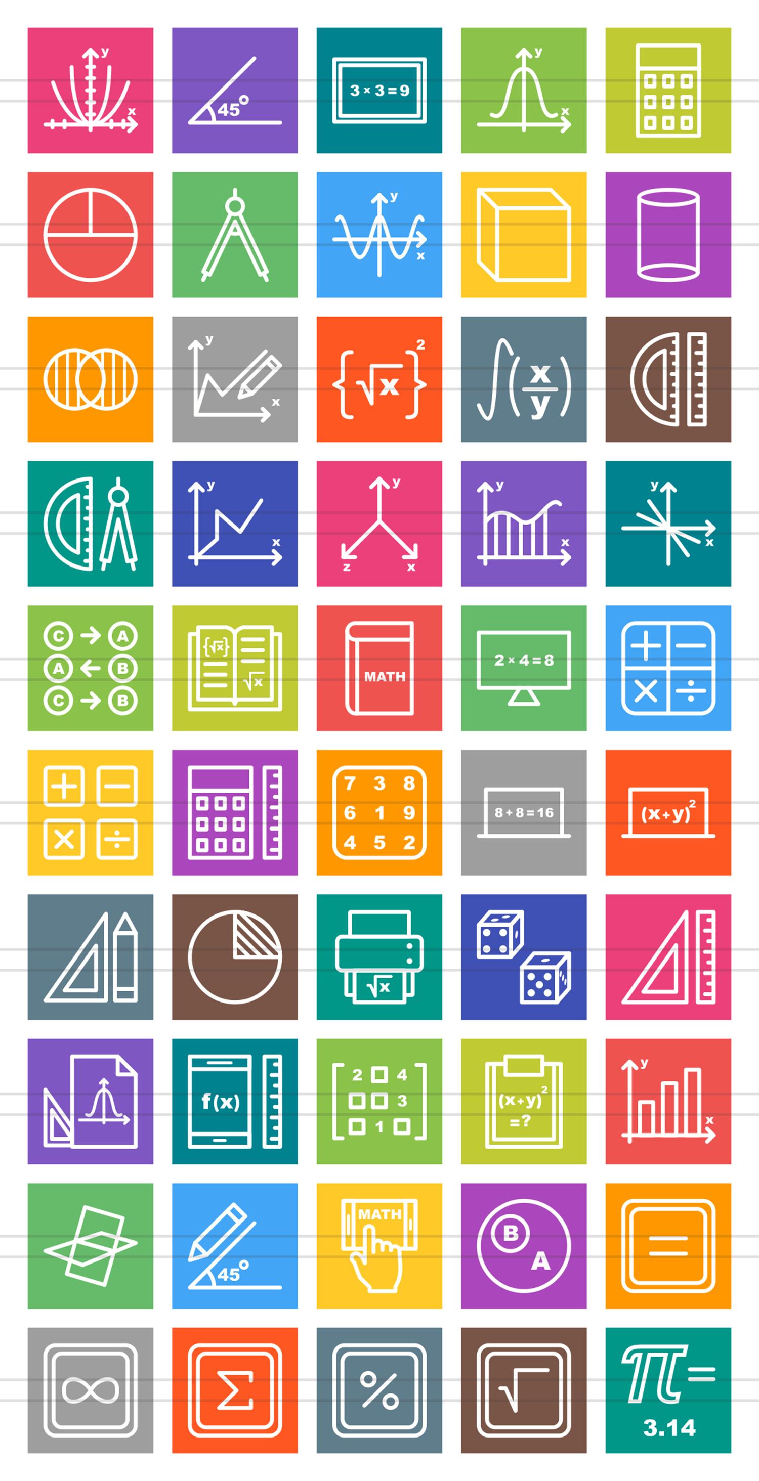 50 Math Symbols Line Multicolor B/G Icons example image 2