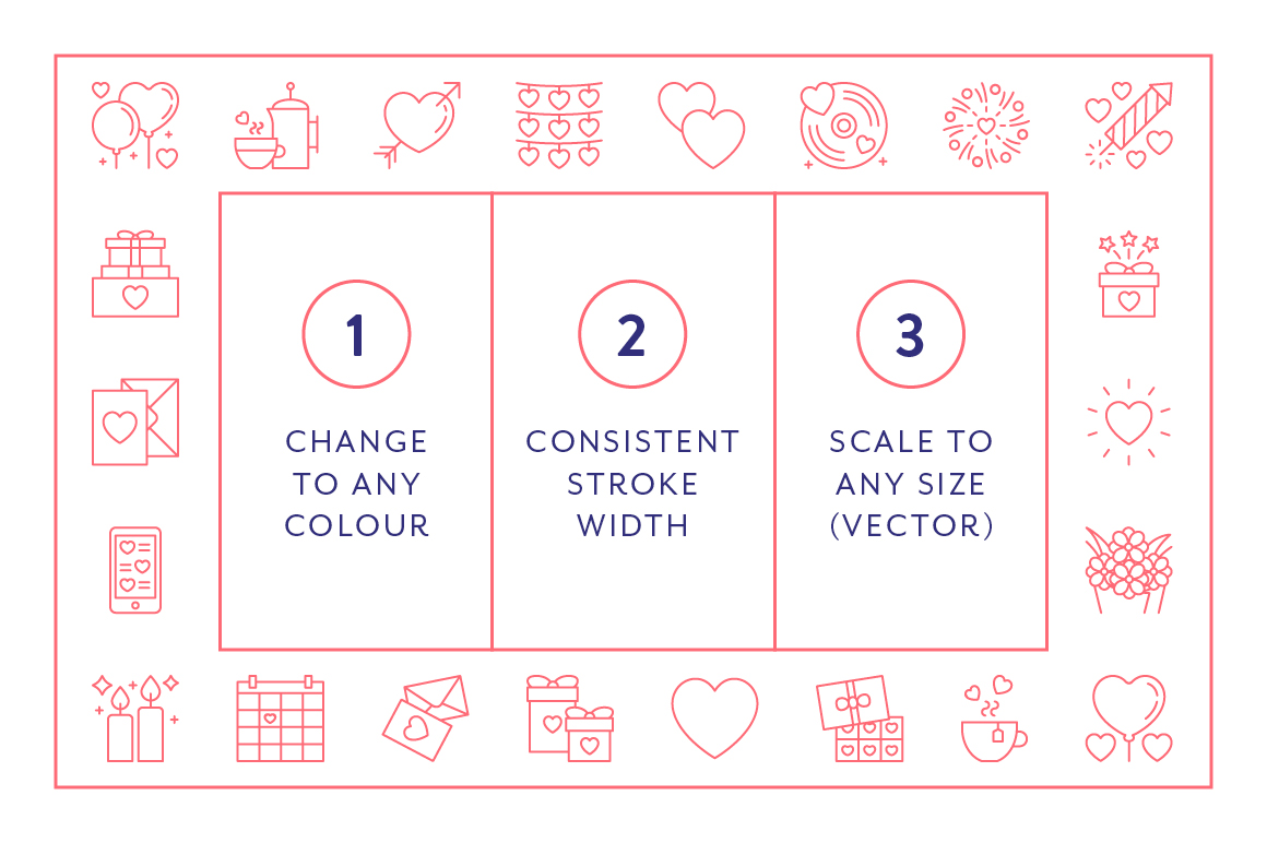 Line Icons  Valentines example image 3