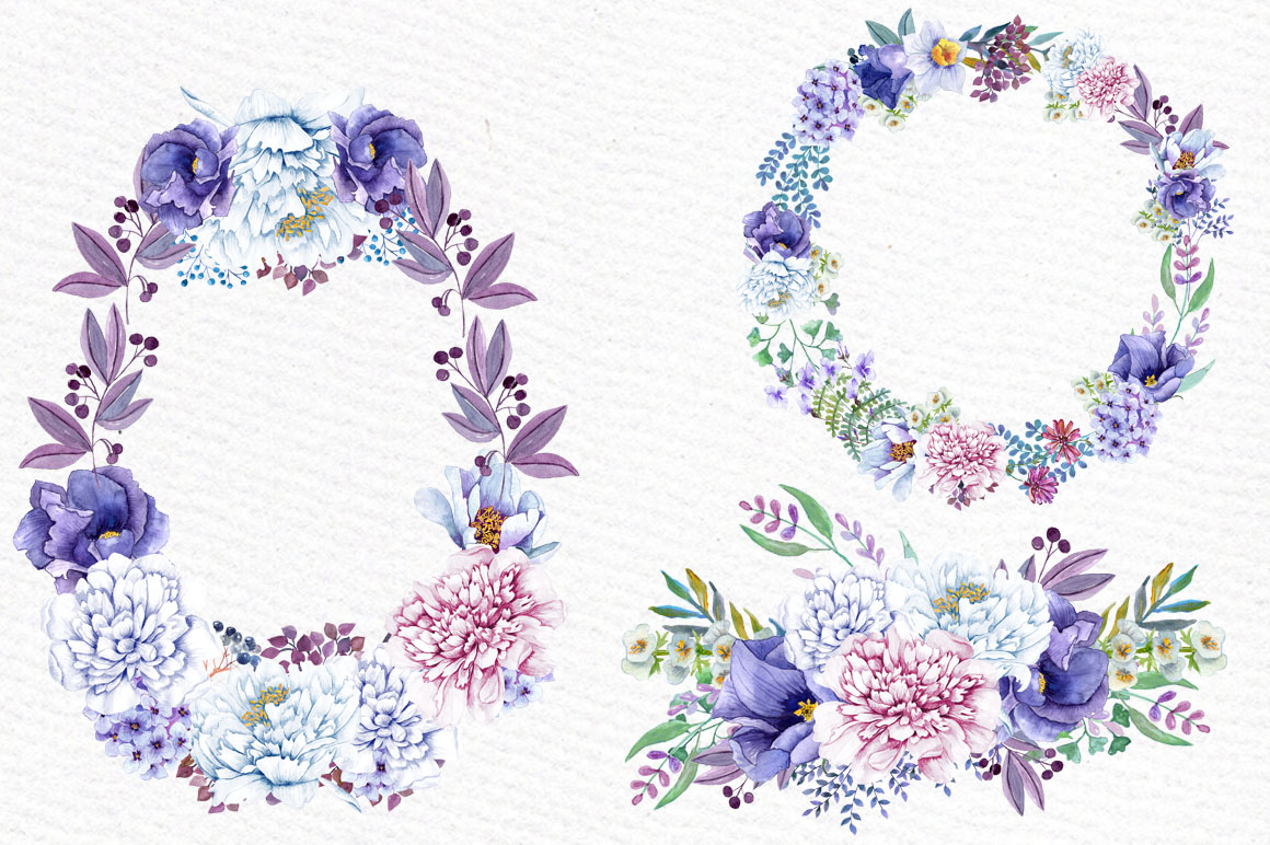 Watercolor wreaths and bouquets example image 3