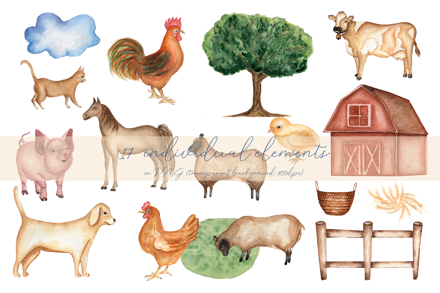 Watercolor Farm life example image 2