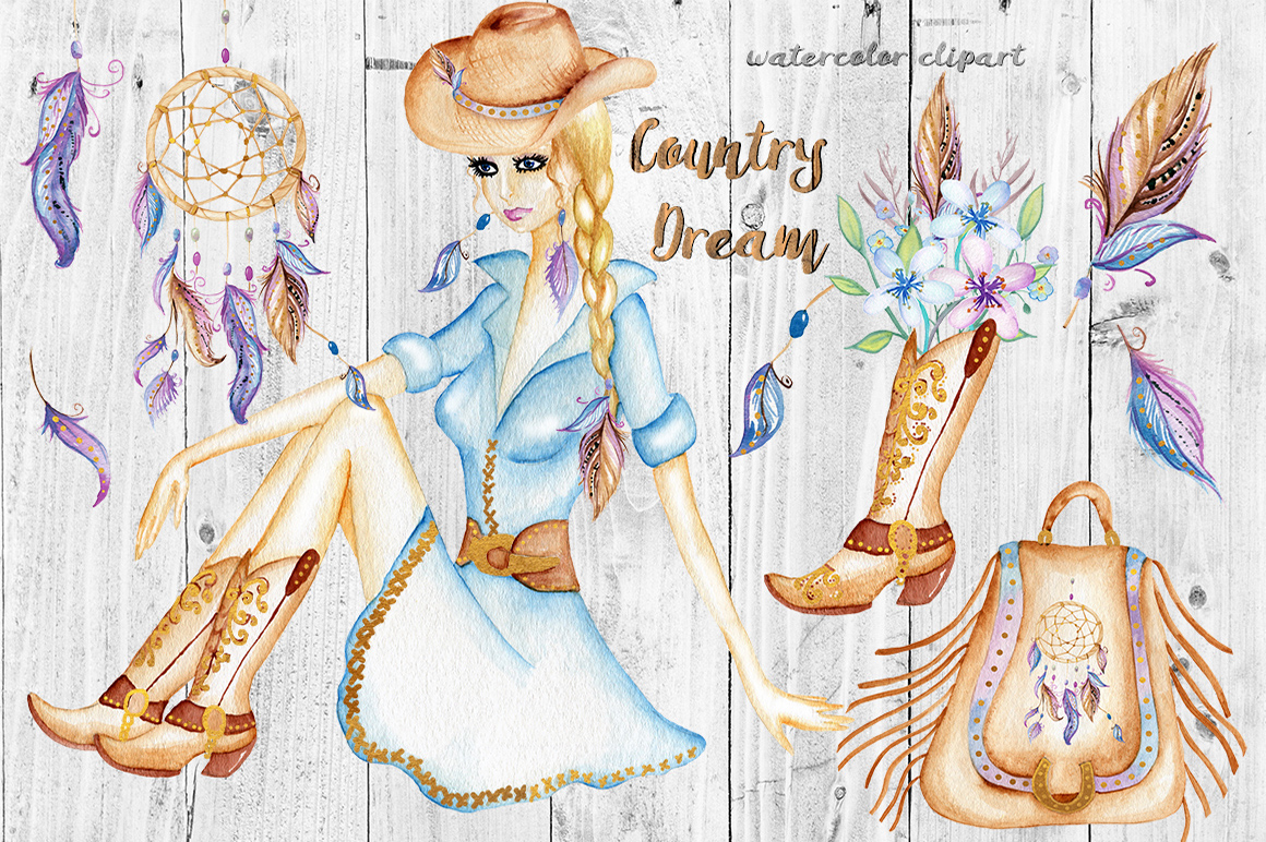 Watercolor Western Clipart, Dream Catcher, Boho Clipart Girl example image 1