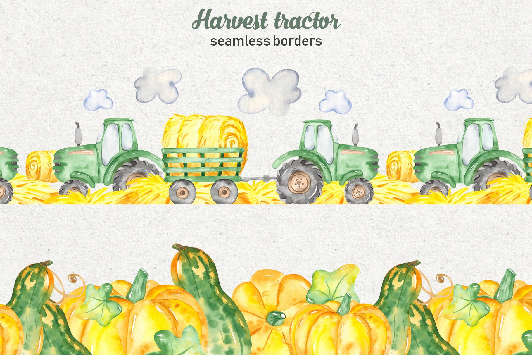 Tractor, harvesting, hay, pumpkin, farm. Watercolor clipart example image 4