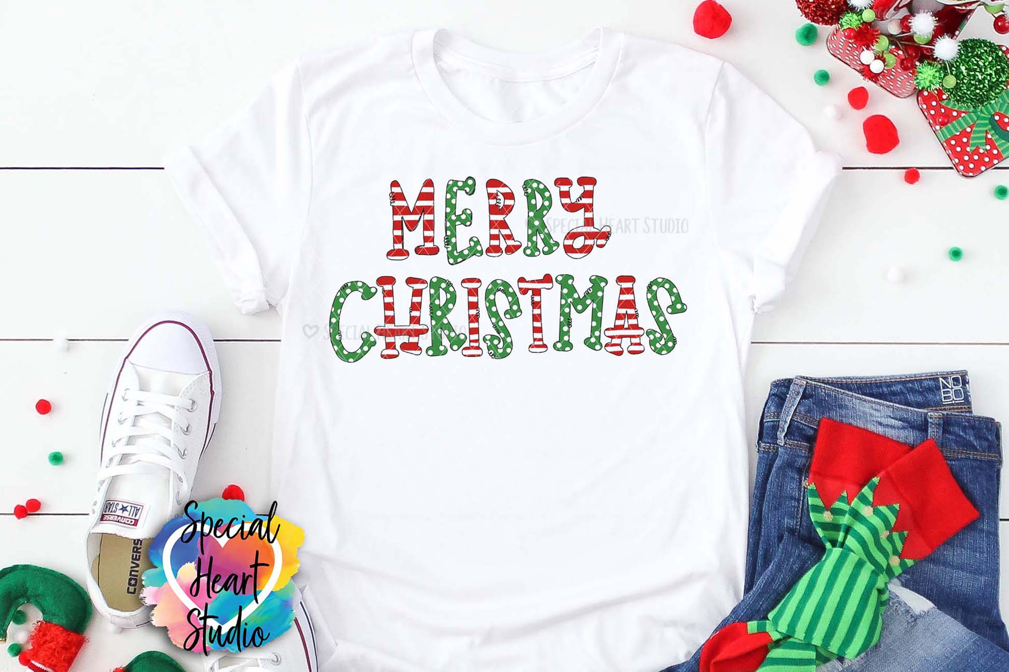 Merry Christmas - Sublimation - Hand Lettered Christmas PNG example image 3