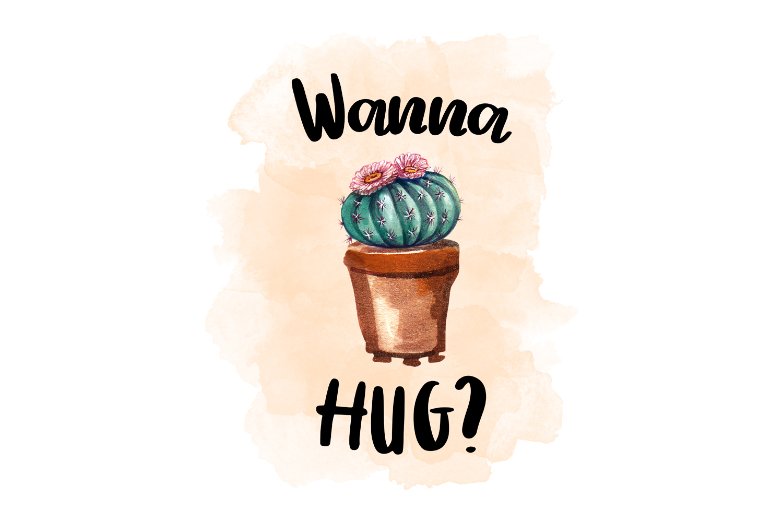 Wanna Hug?, Watercolor Cactus Clipart example image 1