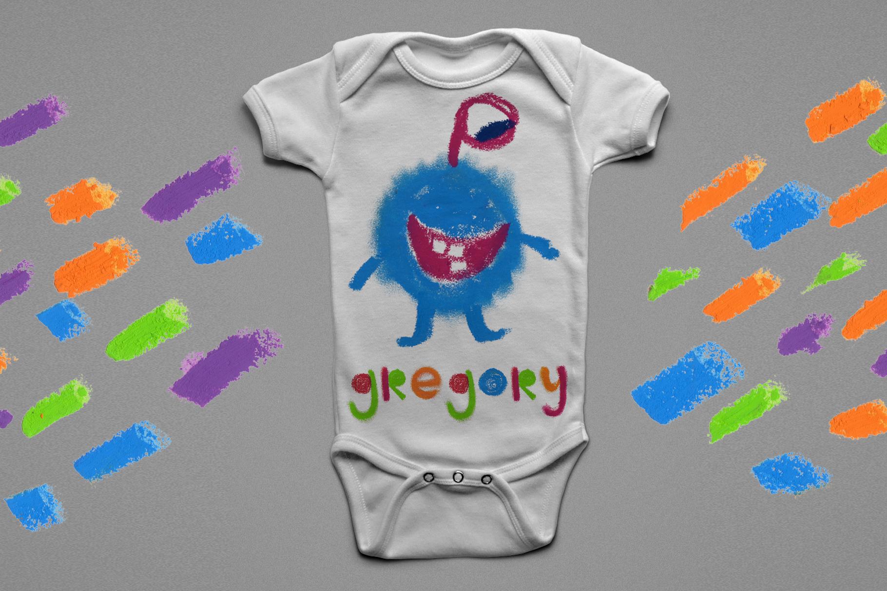 """Little monster"" bitmap color font example image 6"