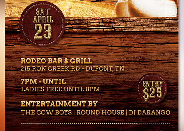 Country Road Party Flyer Template example image 3