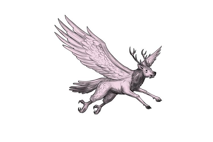 Peryton Flying Side Tattoo example image 1