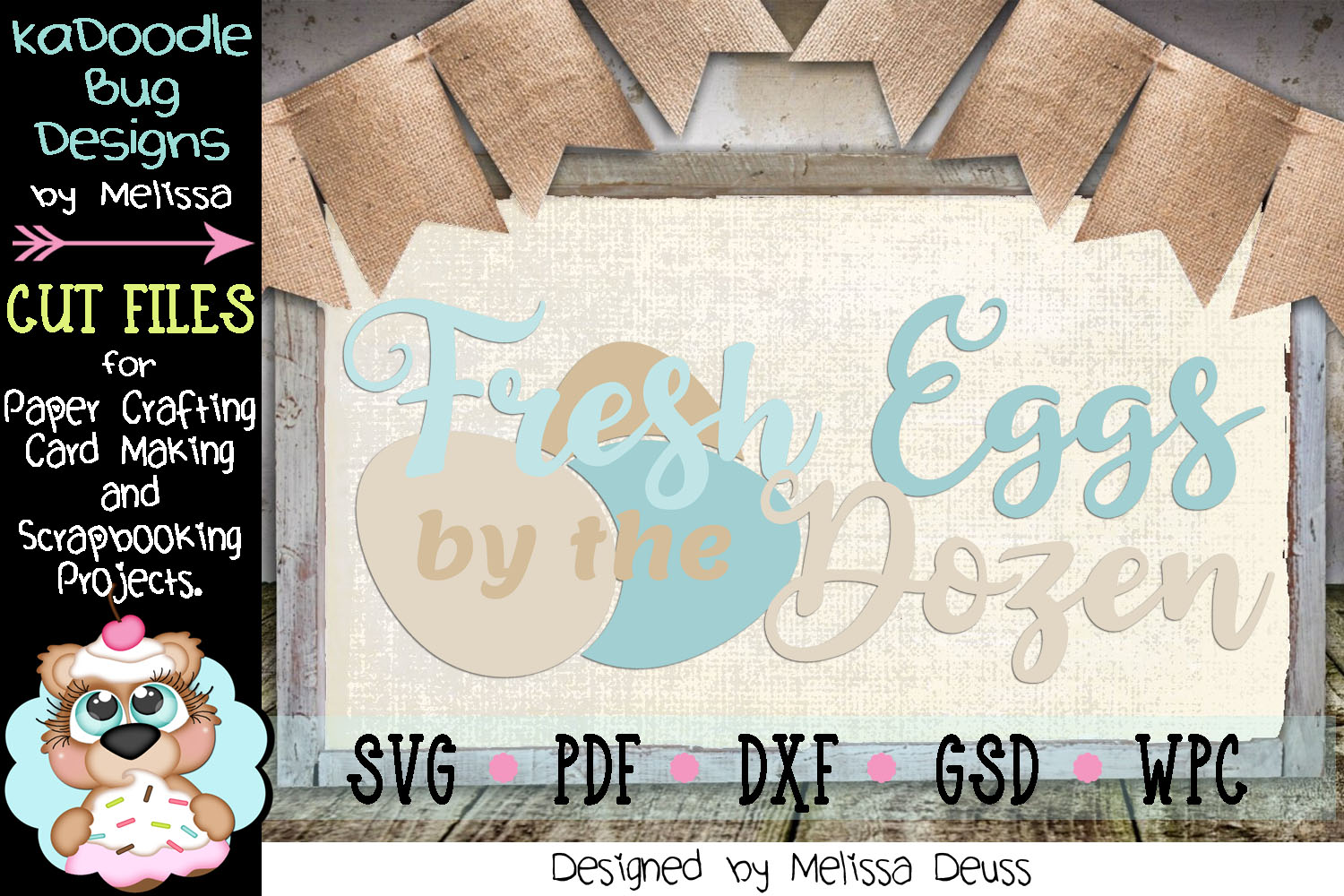 Fresh Eggs by the Dozen Cut File - SVG PDF DXF GSD WPC example image 1