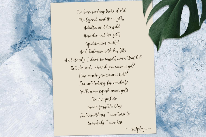 Lovely white. Romantic script font example image 3