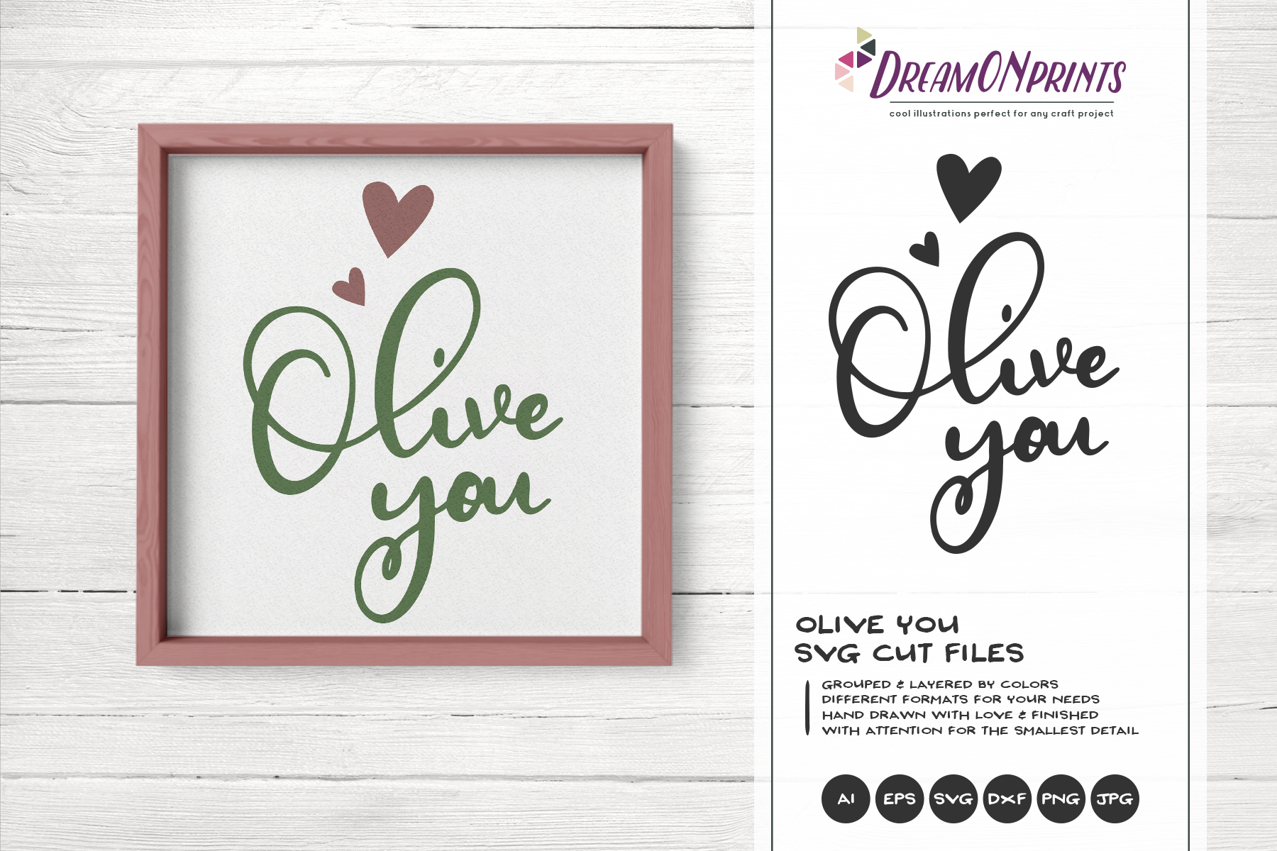 Olive You | Kitchen Sign SVG | I Love You example image 1