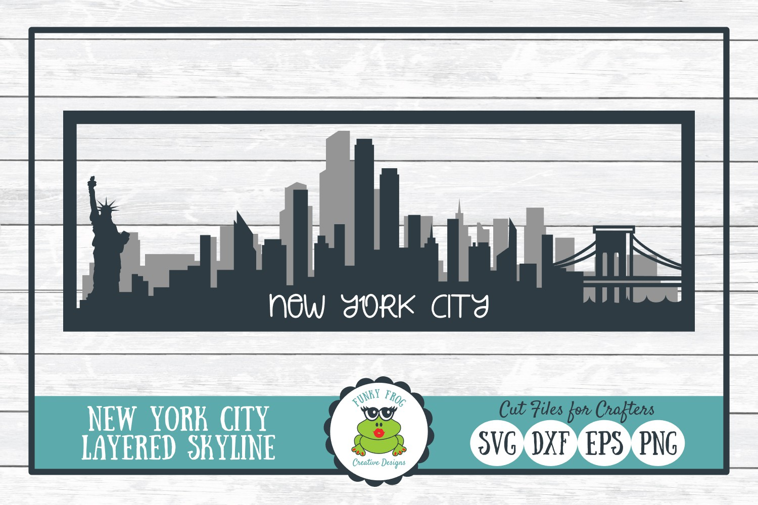 New York City Layered Skyline SVG Cut File for Crafters example image 1