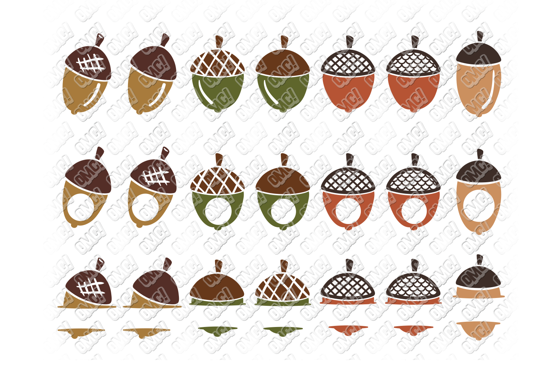 Acorn SVG Oak Tree Leaves in SVG, DXF, PNG, EPS, JPEG example image 2