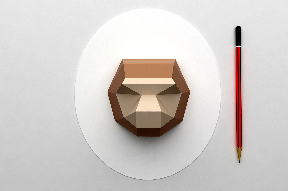 DIY Monkey head trophy - 3d papercraft example image 2