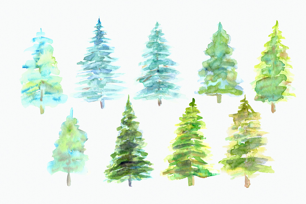 Watercolor Pine Trees Clip Art example image 2