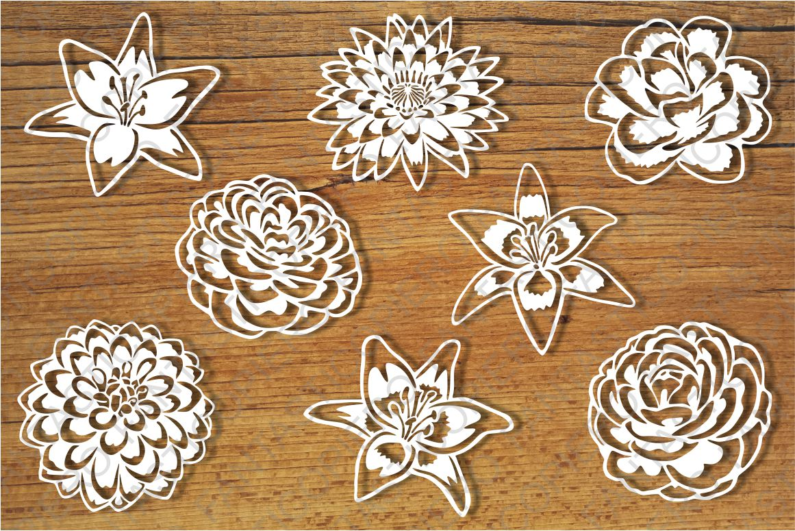 Flowers and Stencil SVG files for Silhouette and Cricut. example image 1