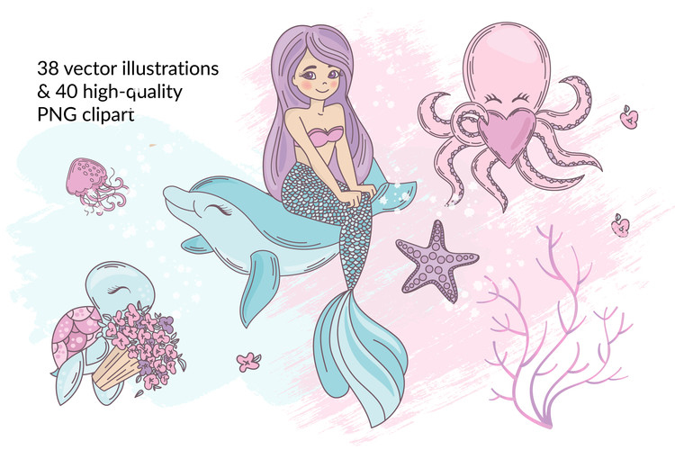 MERMAID IN LOVE Tropical Travel Vector Illustration Set example image 2