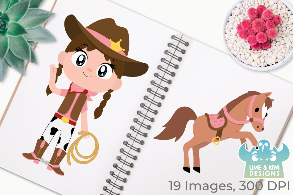 Wild West Cowgirls Clipart, Instant Download Vector Art example image 3
