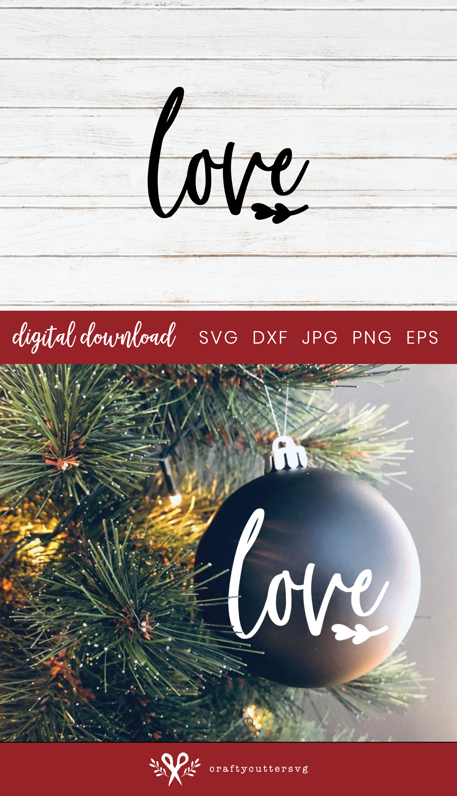 Christmas Decoration Love Cut File Bell Clipart example image 3