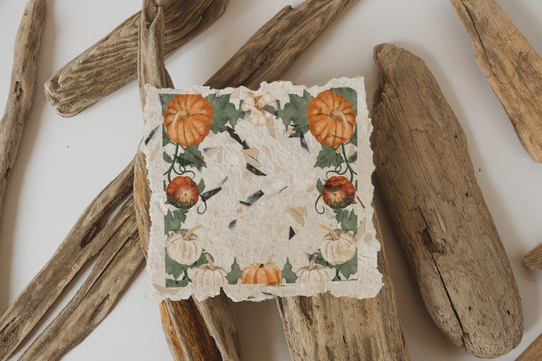 Hand drawn pumpkin frames and wreaths example image 3