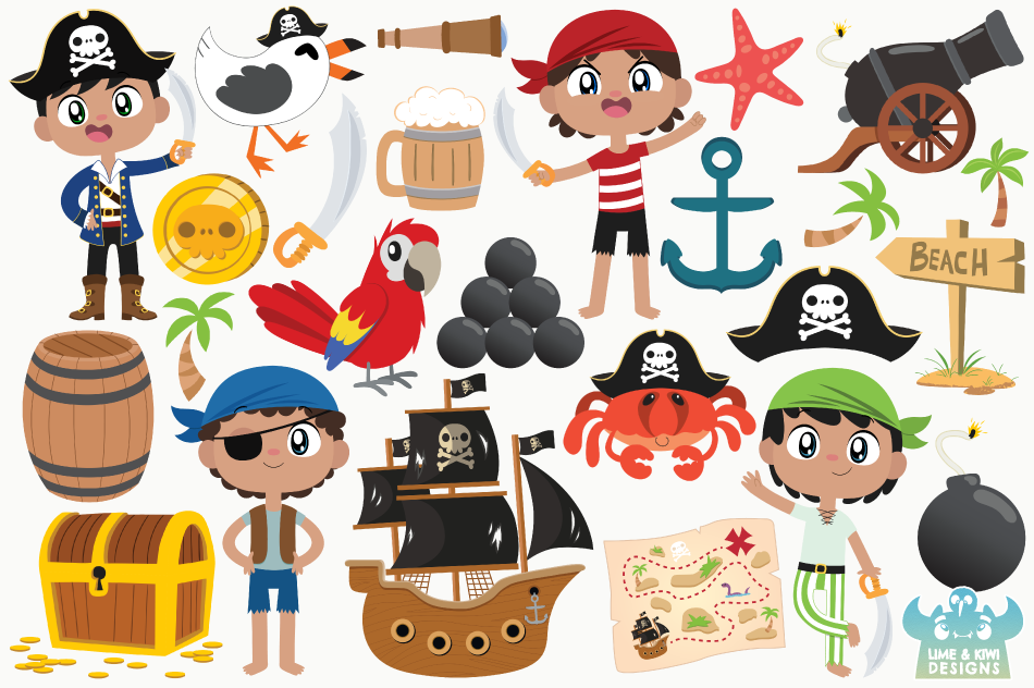 Pirate Boys 2 Clipart, Instant Download Vector Art example image 2