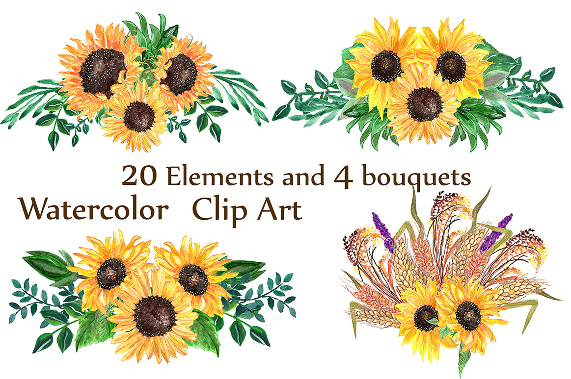 Watercolor sunflowers clipart example image 3