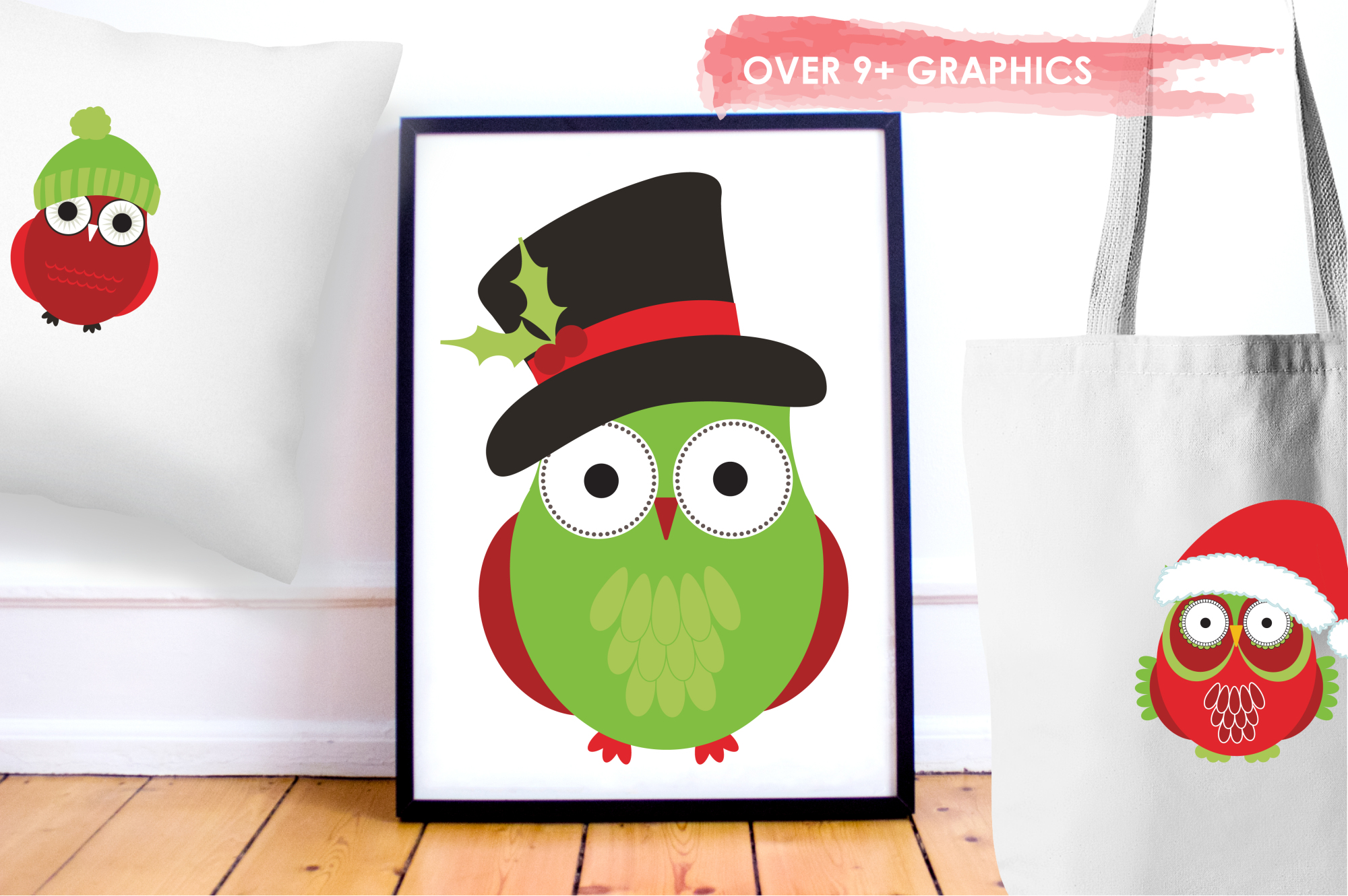 Christmas Owls graphics and illustrations example image 5