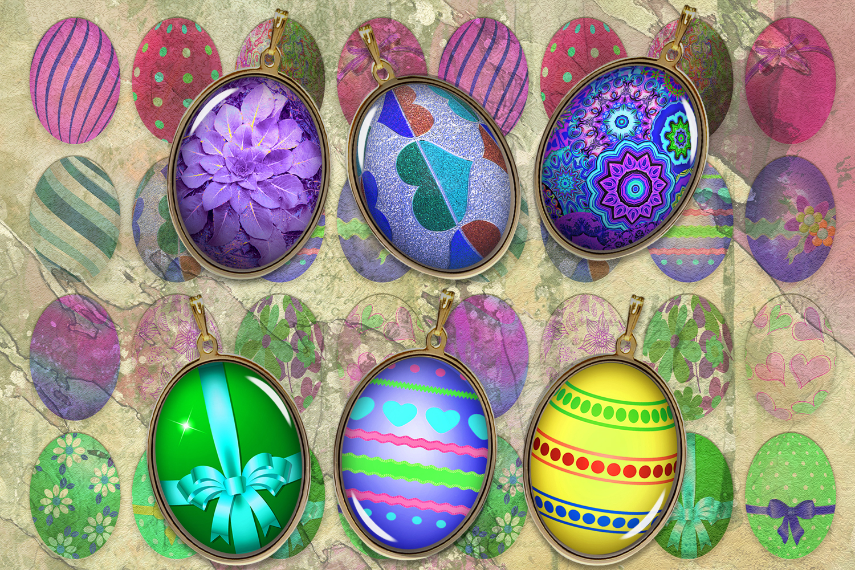 Easter Digital Collage Sheet,Eggs Digital Images,Oval Images example image 1