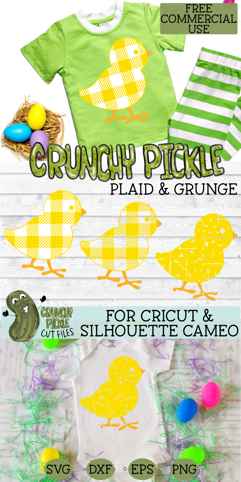 Plaid & Grunge Baby Chick Easter / Spring SVG Cut File example image 4