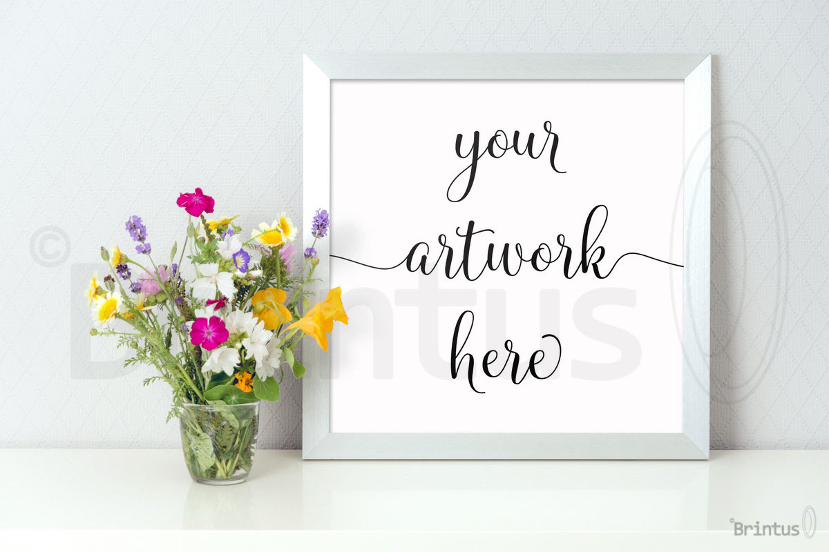 Frame mockup - clean bright interior summer field flowers example image 4