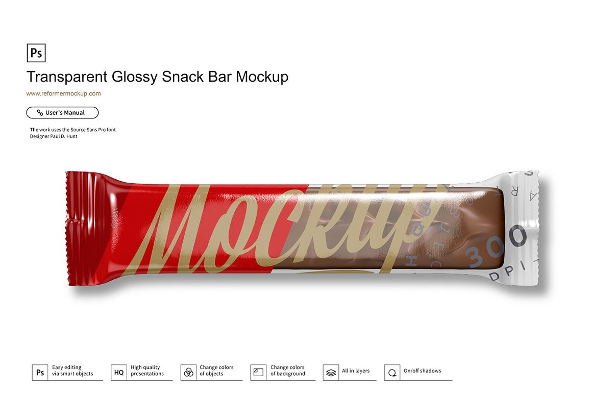 Transparent Glossy Snack Bar Mockup example image 1