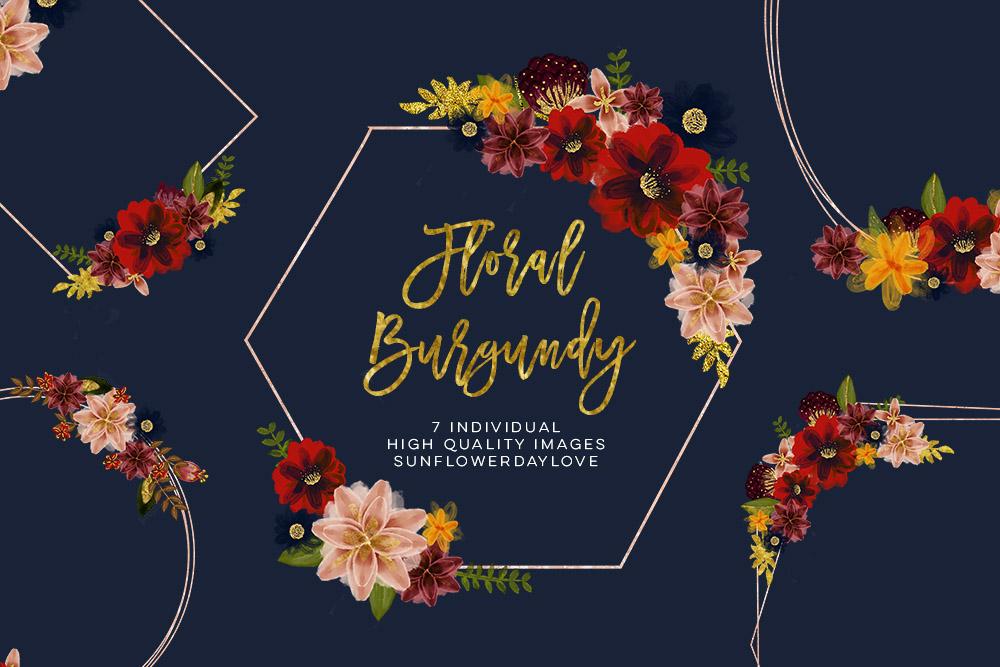 Floral burgundy geometric frame example image 3