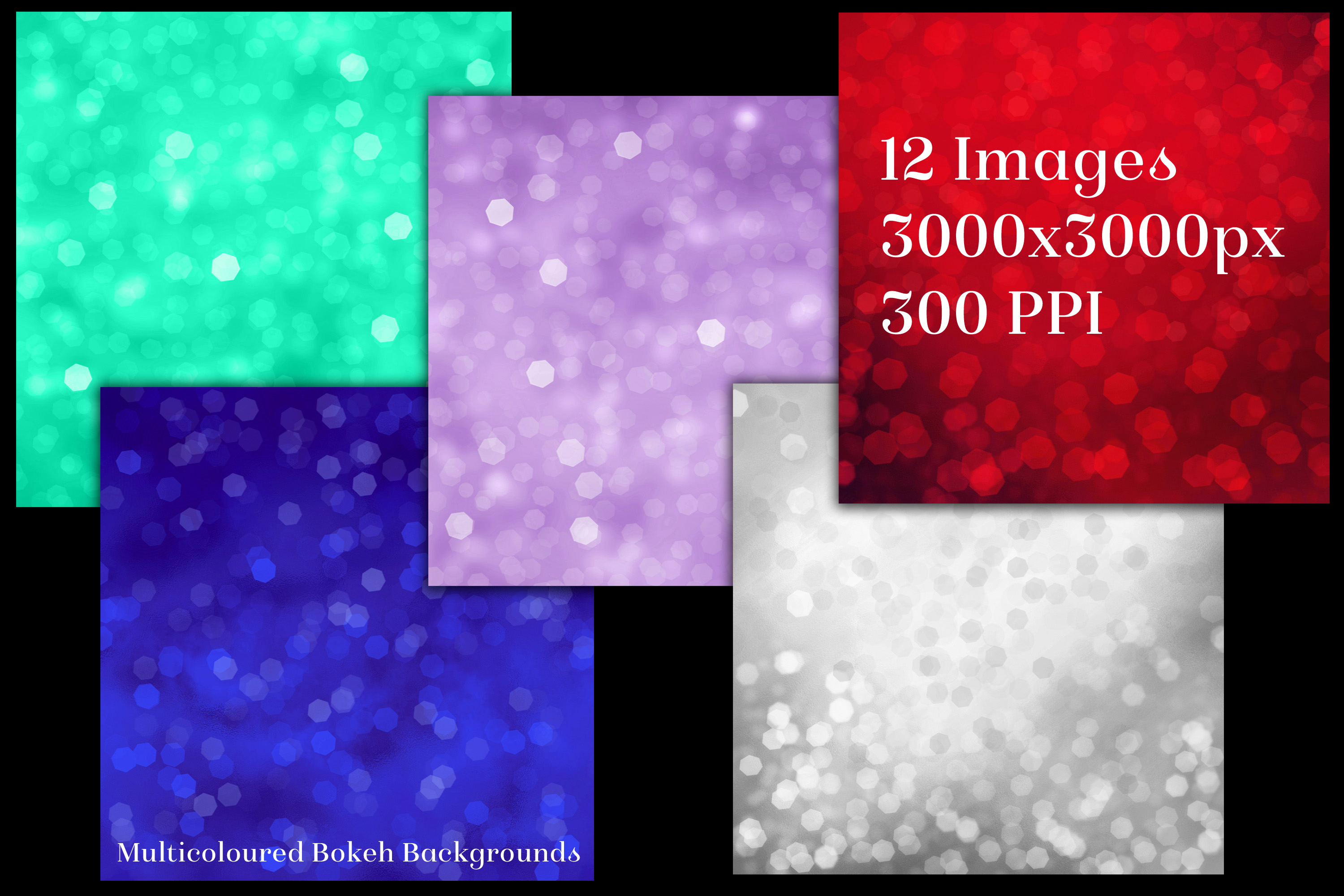Multicoloured Bokeh Backgrounds - 12 Image Textures Set example image 2