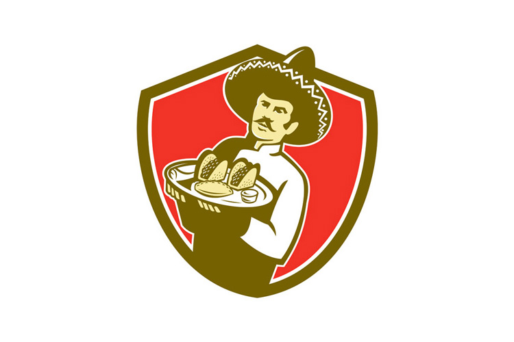 Mexican Chef Cook Serving Taco Plate Shield example image 1
