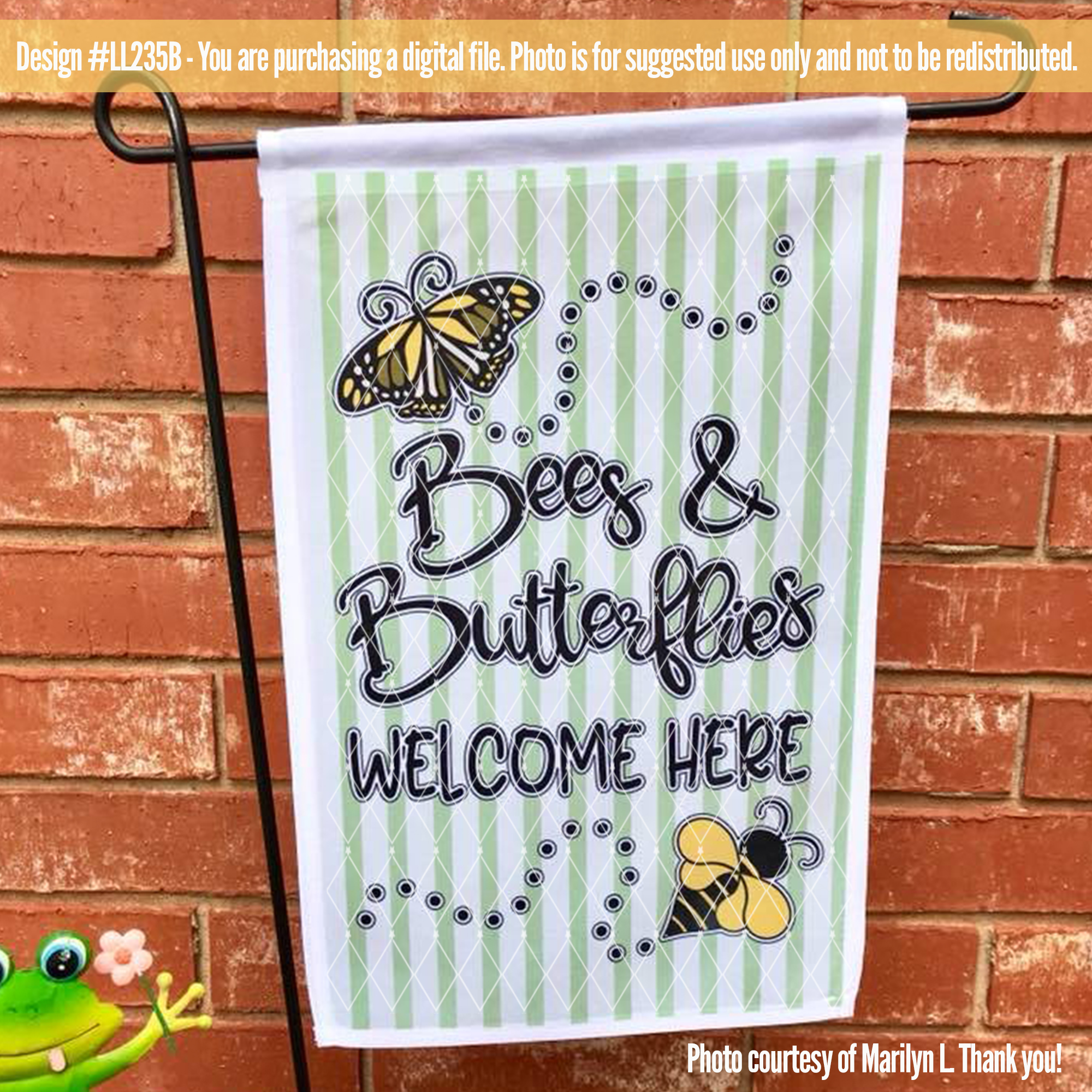Bees and Butterflies Welcome Here Spring SVG DXF FCM LL235B example image 3