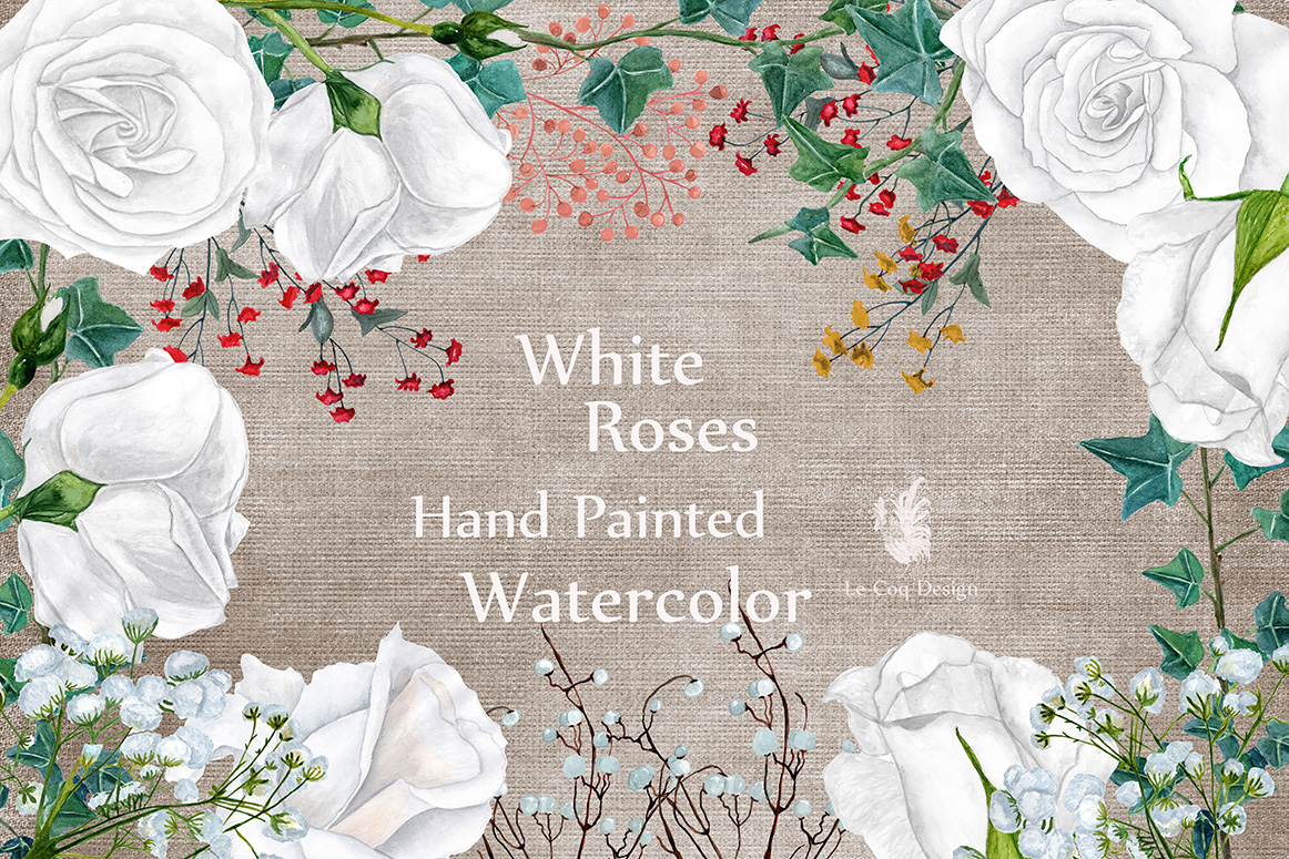 Watercolor white roses clipart example image 1