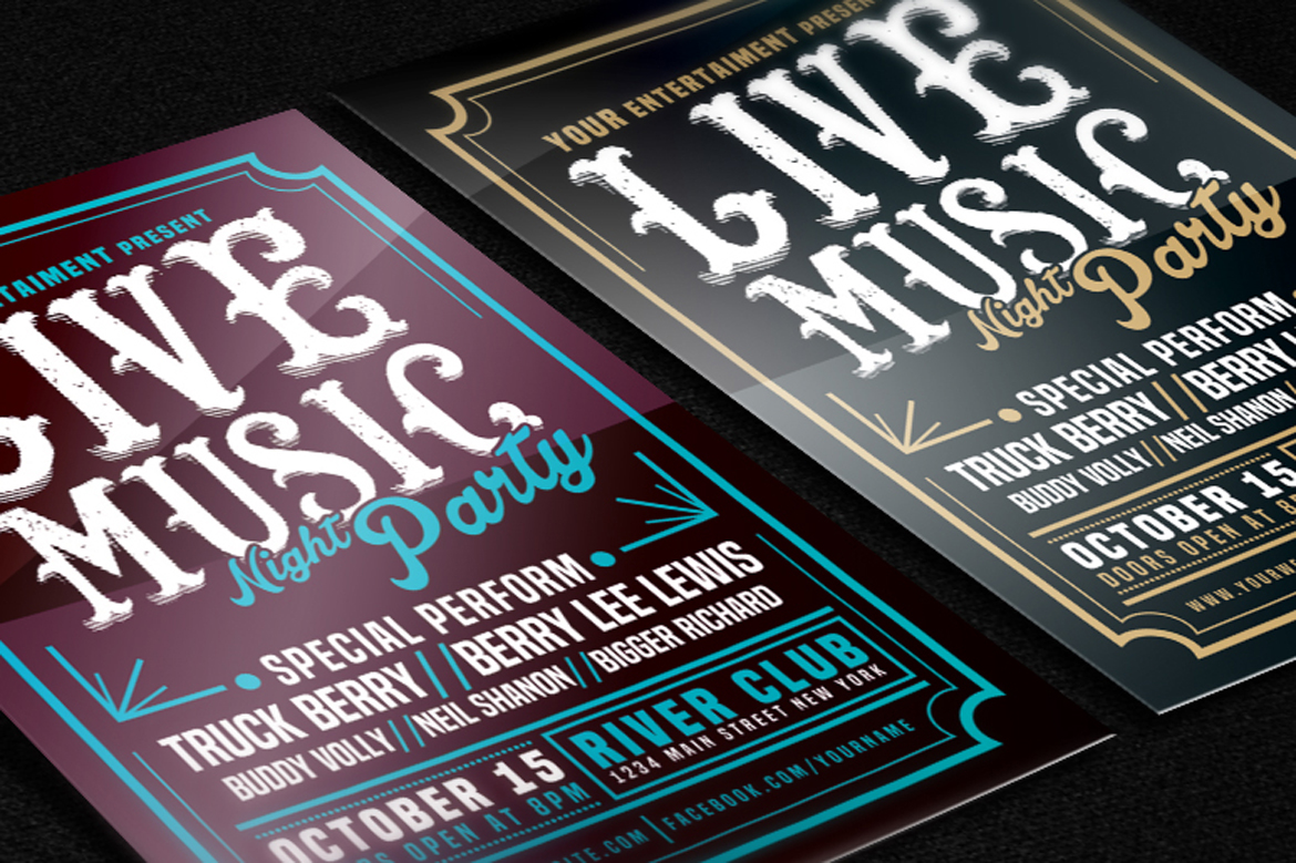 Live Music Typography Poster Flyer example image 2