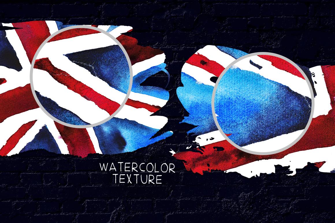 Old British. Watercolor britain flag. United Kingdom. example image 7