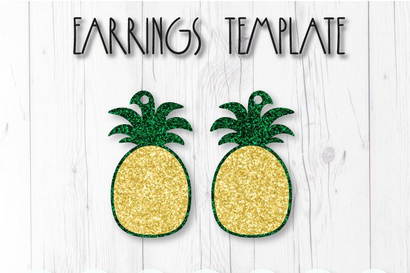Pineapple earrings template SVG, DIY earrings template example image 1