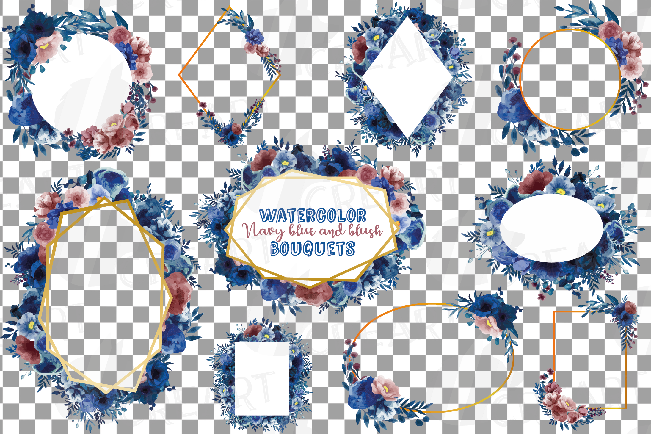 Watercolor elegant navy blue and blush floral borders vector example image 14