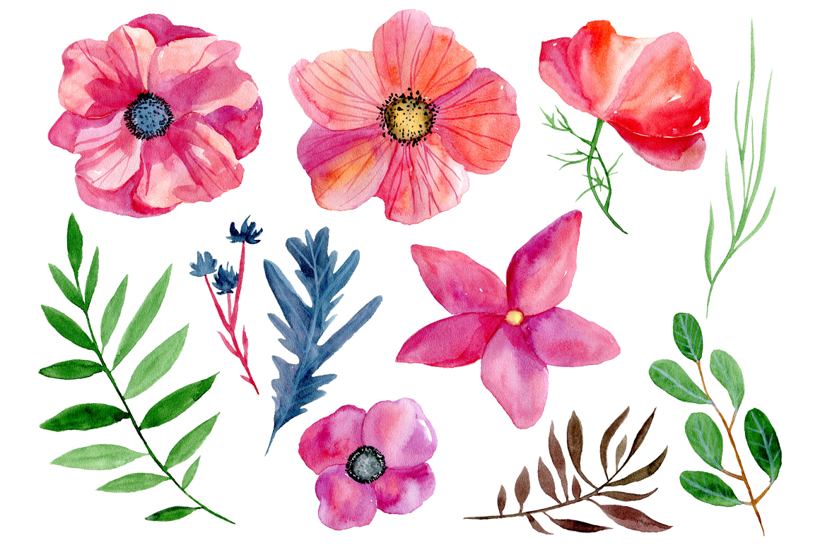 Watercolor boho flowers example image 3