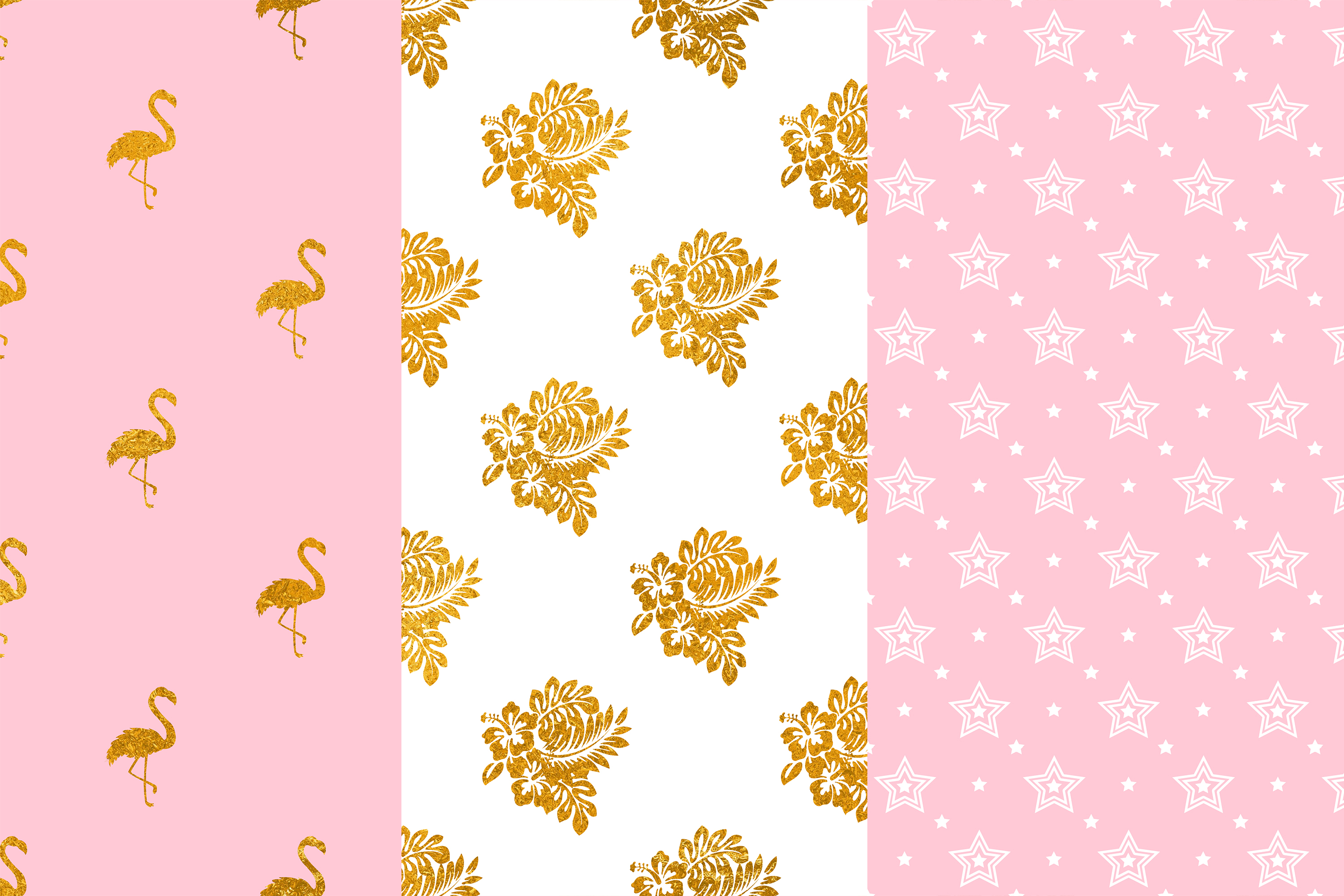 Pretty Pink Gold Digital Paper, Flamingo Seamless Patterns example image 2