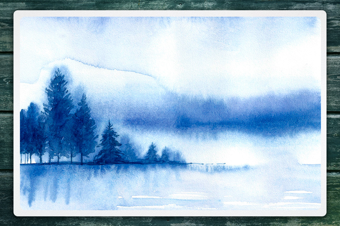 Winter Landscapes set#2. Watercolor. example image 7