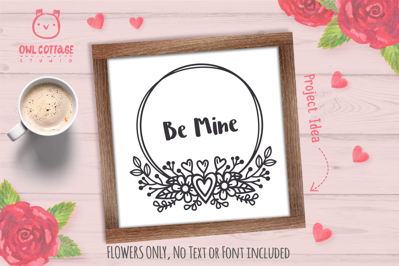 Valentines Floral Monogram cut file, Circle Flowers Wreaths example image 6