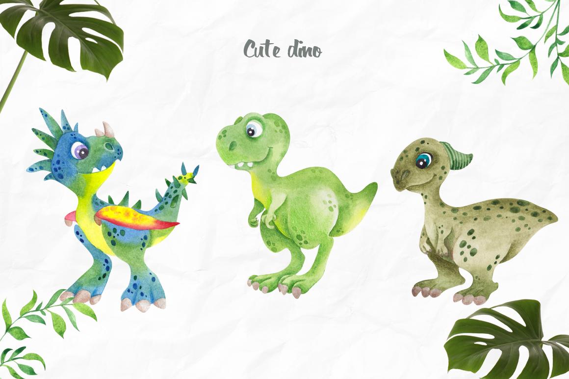DinoLand. Cute Watercolor set example image 3