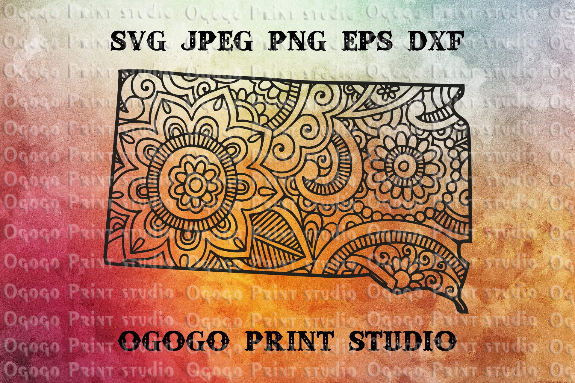 South Dakota SVG, Map Svg, Zentangle SVG, Travel example image 1