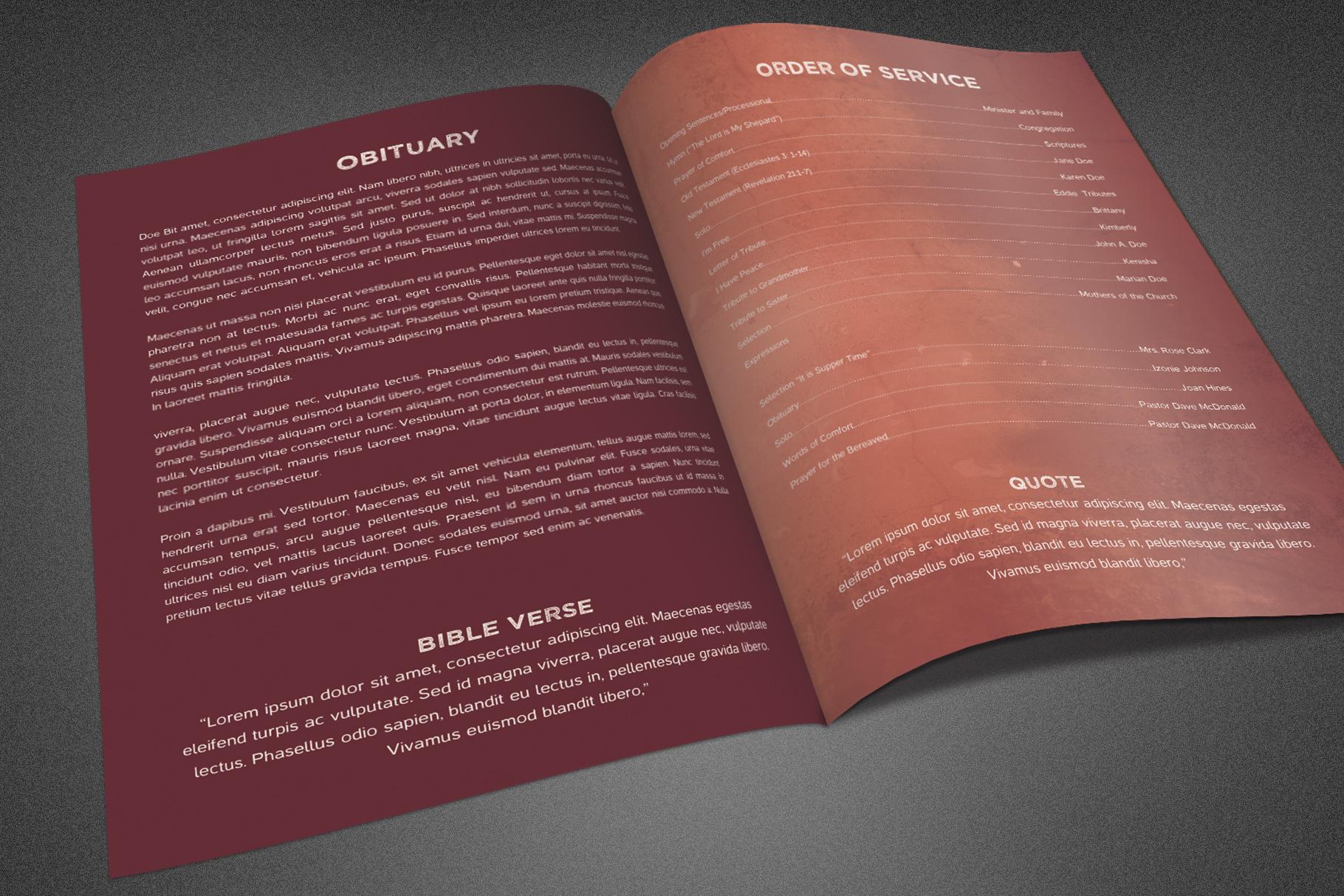 Rustic Funeral Program Template example image 3