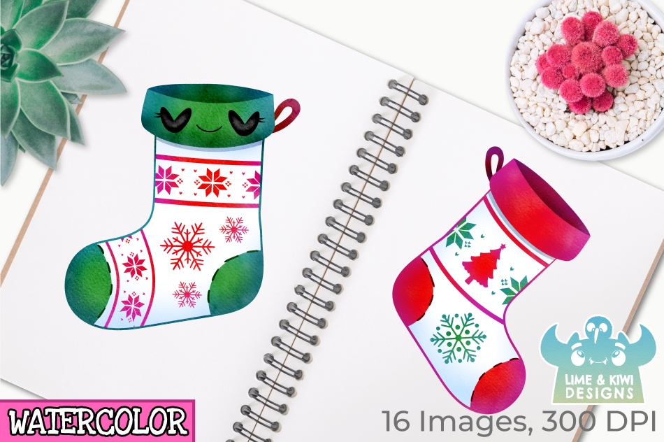 Christmas Stockings Watercolor Clipart, Instant Download example image 3