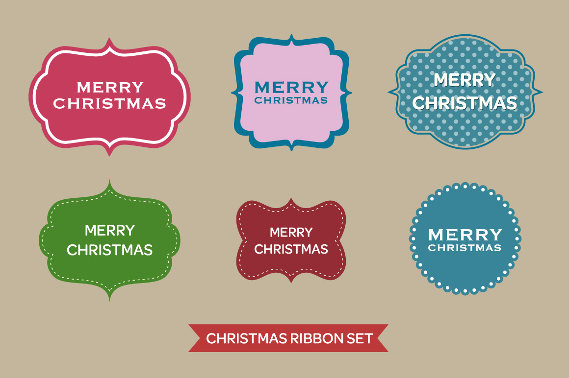 Merry Christmas vintage stickers collections example image 1