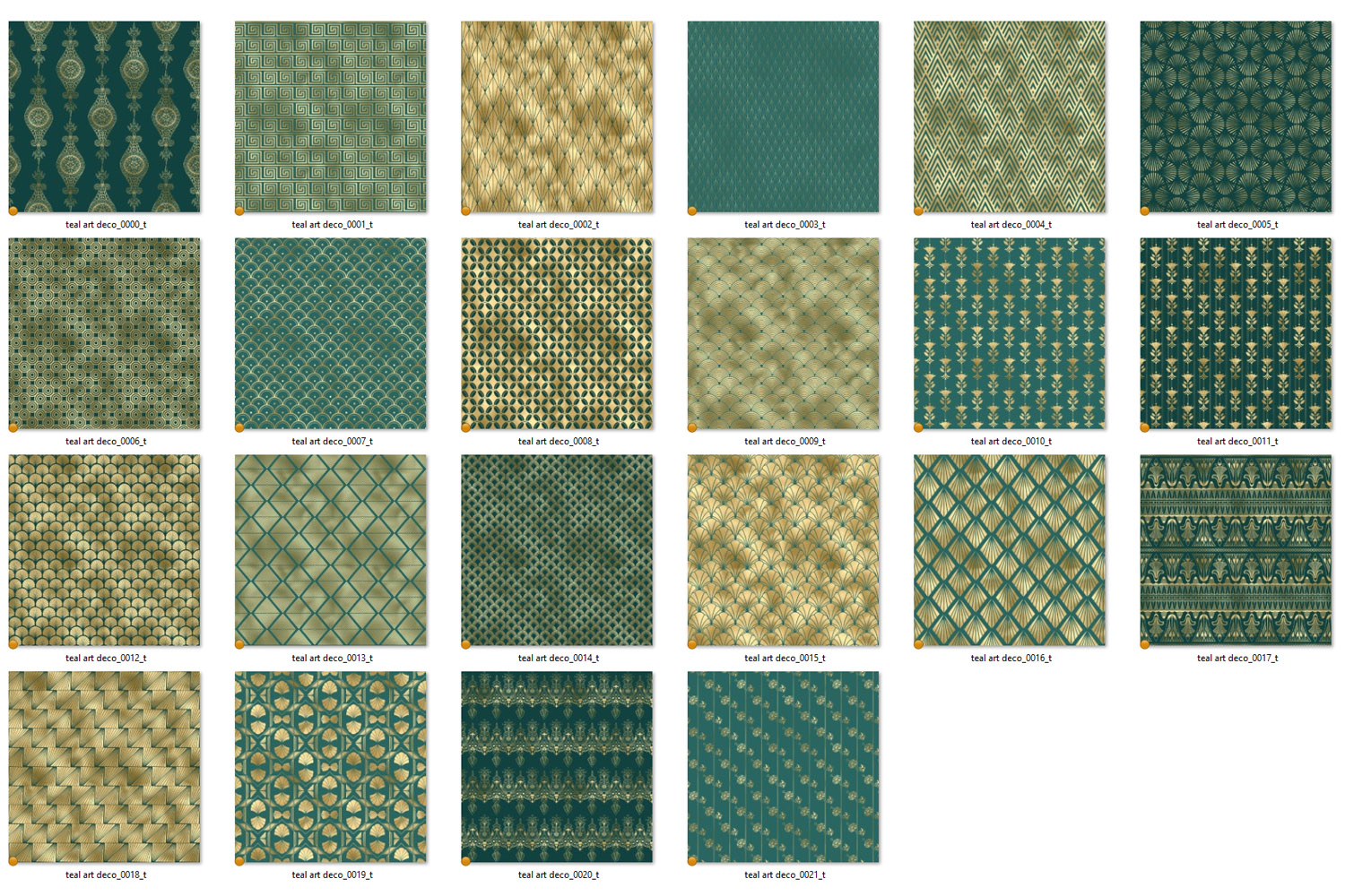 Teal and Gold Art Deco Digital Paper example image 5