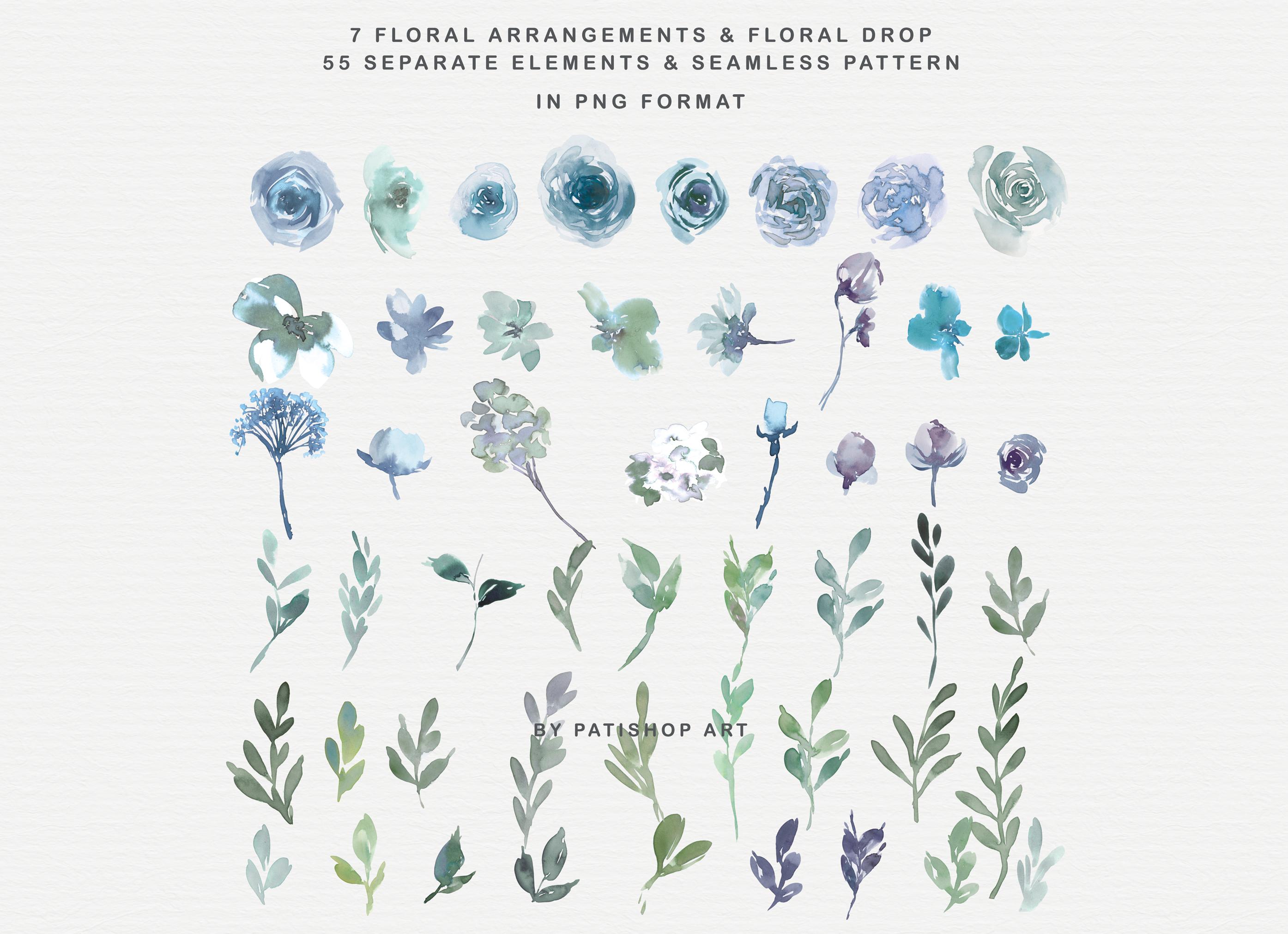 Pale Aqua & Laurel Green Watercolor Floral Clipart Set example image 7